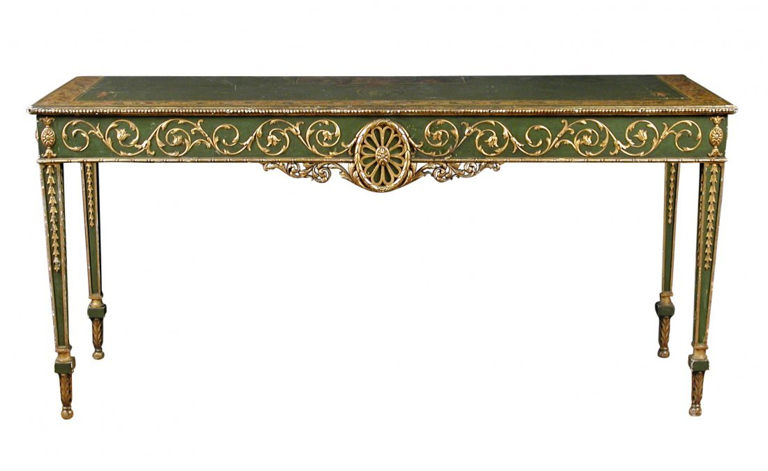 An Adam revival painted and parcel gilt console table,