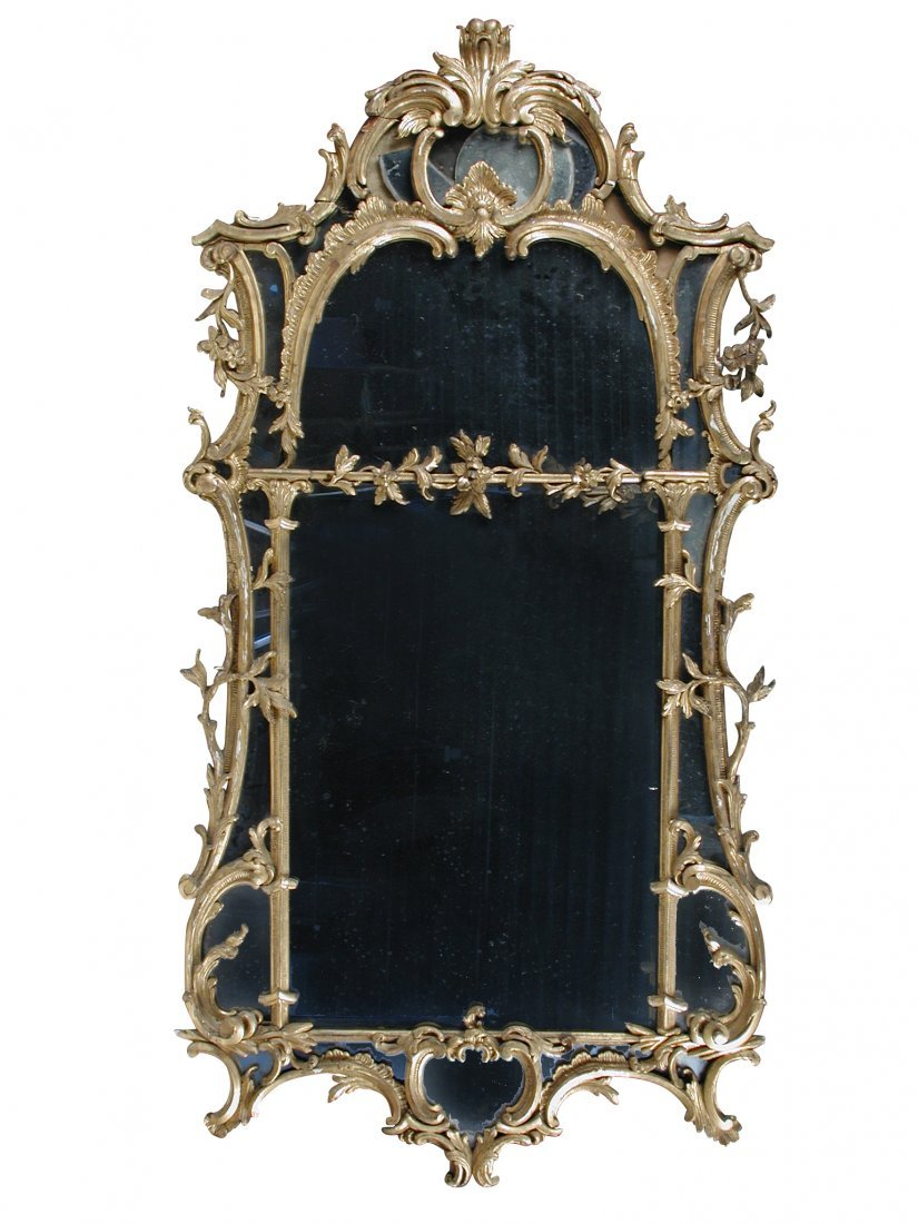 A George II gilt wood framed pier glass, circa 1750