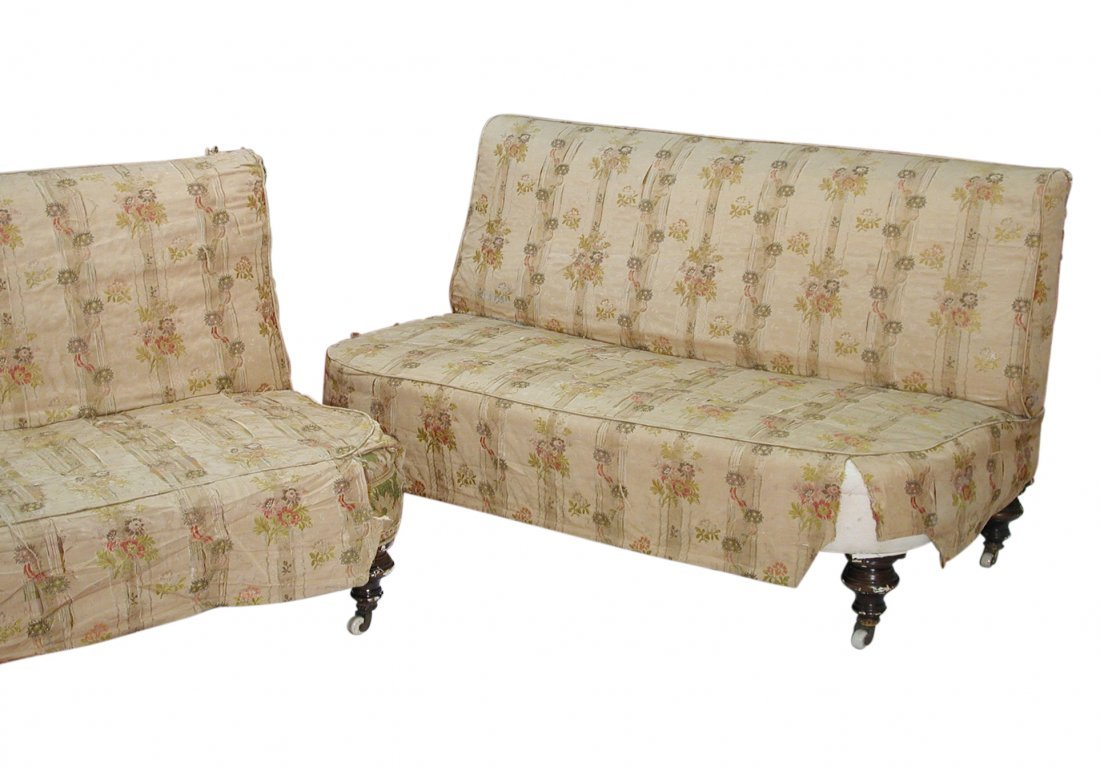 A pair of late 19th century upholstered seats, circa