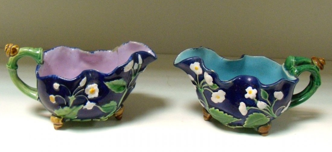 Two Minton majolica sauce boats, date codes for 1856