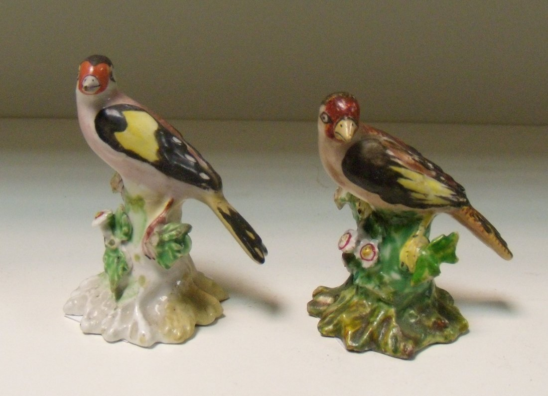 Two late 18th/early 19th century Derby goldfinches,
