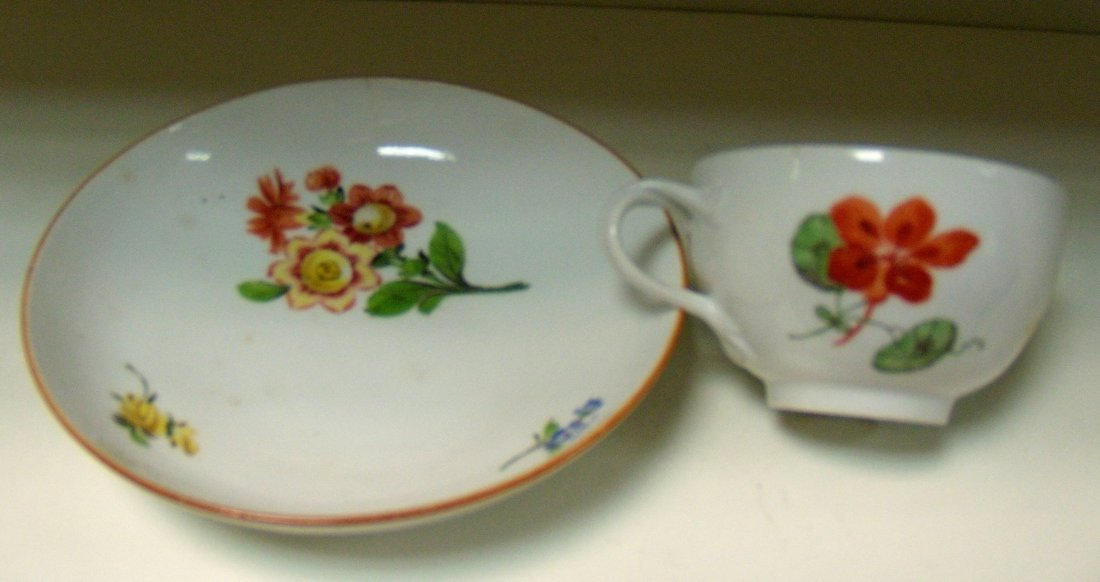 A Marcolini Meissen tea cup and saucer