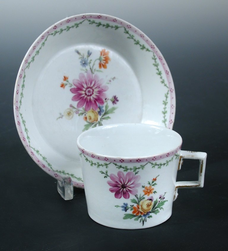 An 18th century Furstenburg cup and saucer