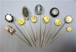 A collection of predominantly 19th century stickpins on