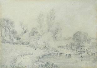 John Constable, RA (British, 1776-1837) - Flatford Lock