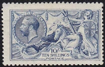 10s Deep blue worn plate Seahorse, unmounted mint,