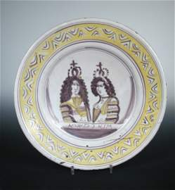 A late 17th century Delft coronation dish for King