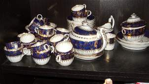 Attributed to Chamberlains Worcester a blue and gilt