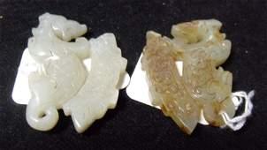 A pair of jade appliques