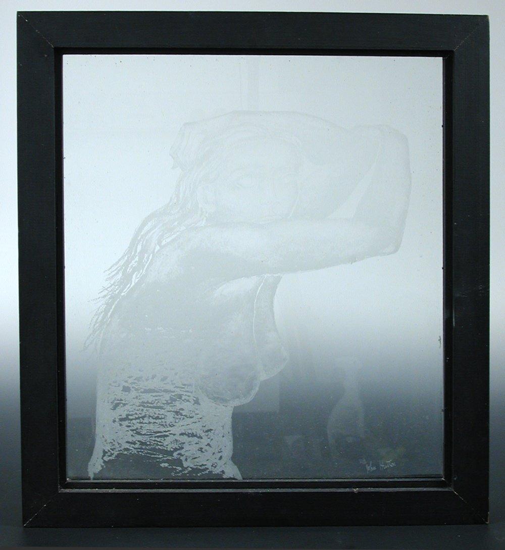 John Hutton (1906-1978), an engraved glass panel,