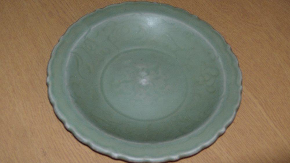 A Ming celadon dish,