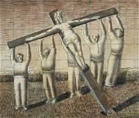 § Gilbert Spencer, RA  - Raising the Cross   pen, ink