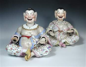 A pair of 19th century Meissen porcelain Pagoda