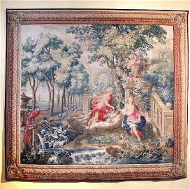 A French mythological tapestry depicting Flora & Zephyr