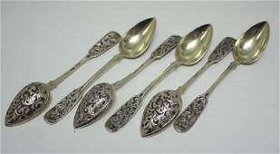 A set of six Russian silver gilt, niello decorated