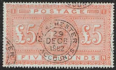 £5 orange, on blued paper. Wmk Anchor, lightly