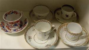 Five 18th19th century English cups and saucers