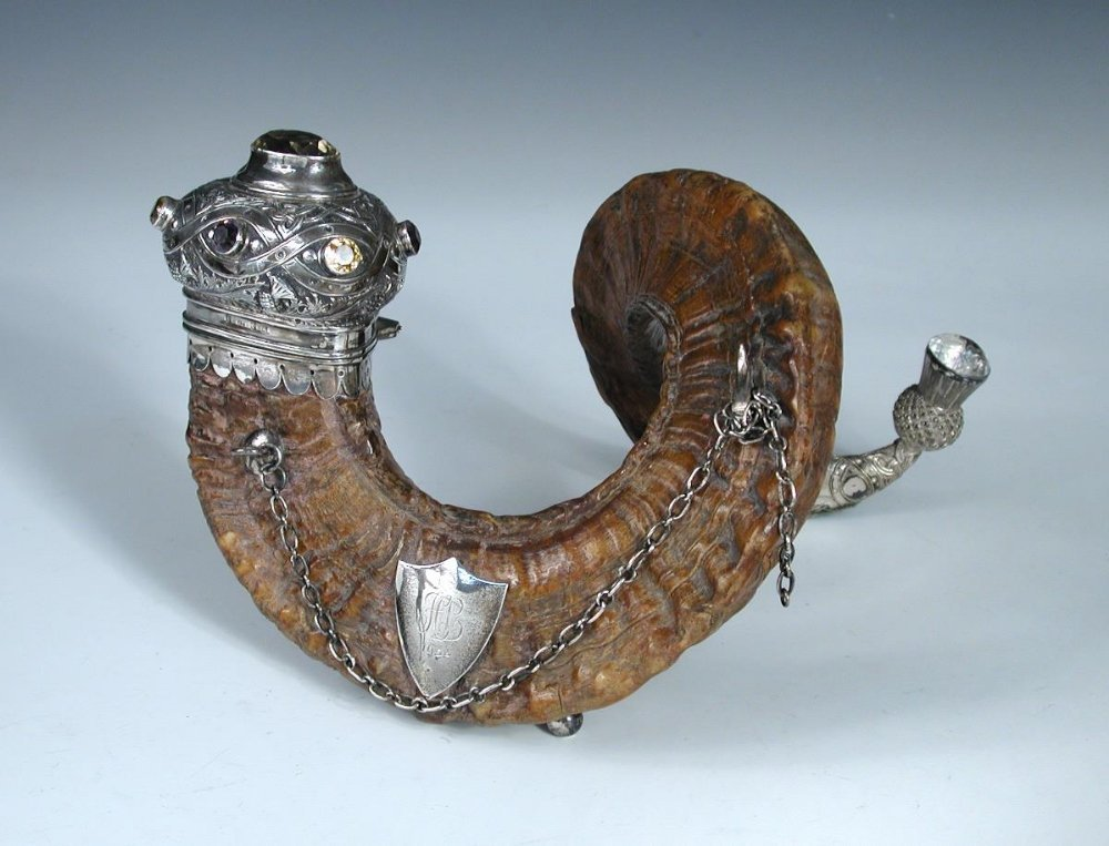 A late Victorian Scottish silver mounted Ram's horn