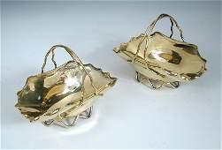 A pair of Victorian silver gilt bon bon dishes,