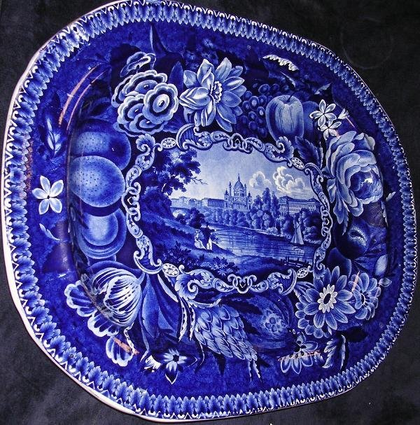 1: A mid Victorian blue and white platter