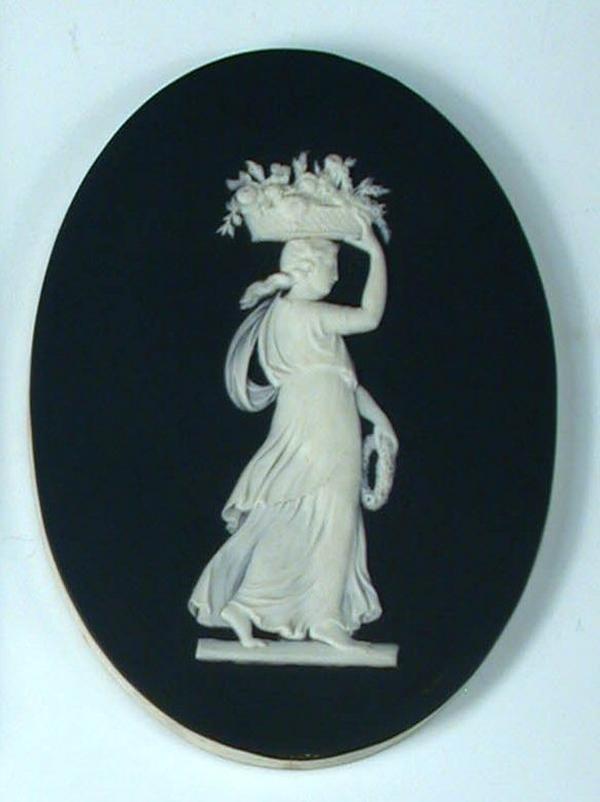 6: A 19th century Wedgwood black jasper oval plaque