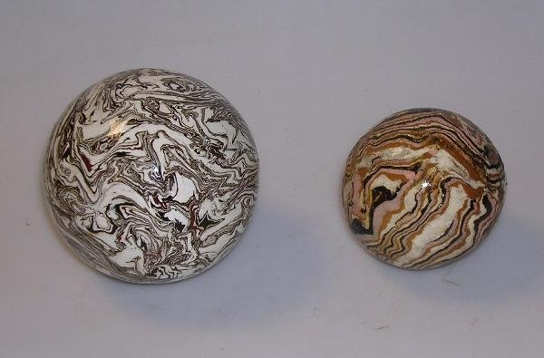 8: Two Victorian pottery carpet bowls