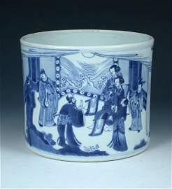 89: A Chinese blue and white brush pot, Kangxi