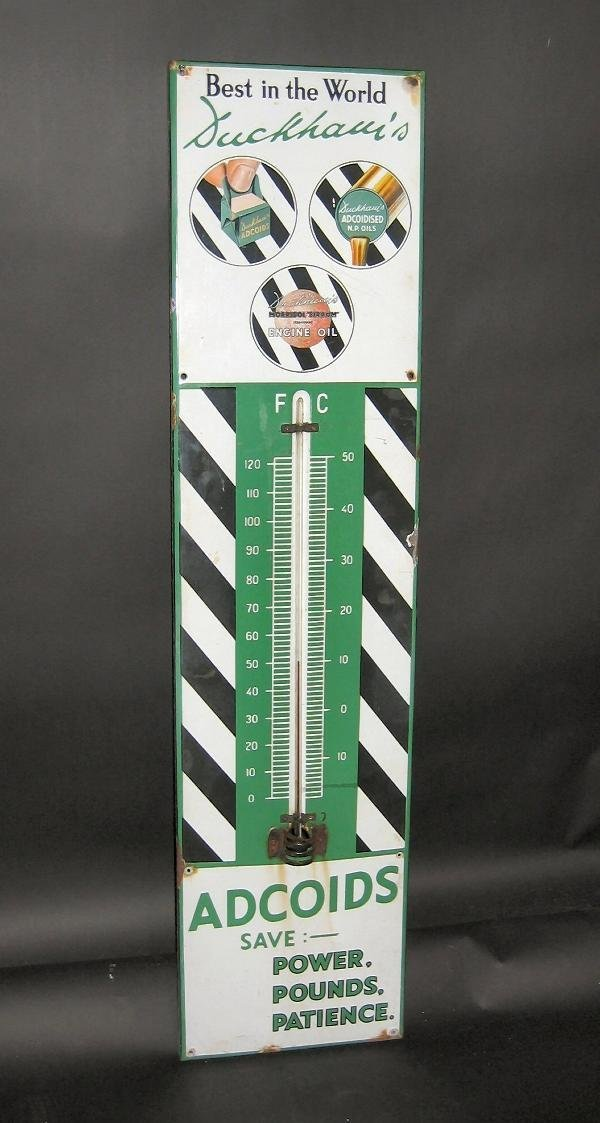 1010: Duckhams Adcoids- an enamel forecourt thermometer