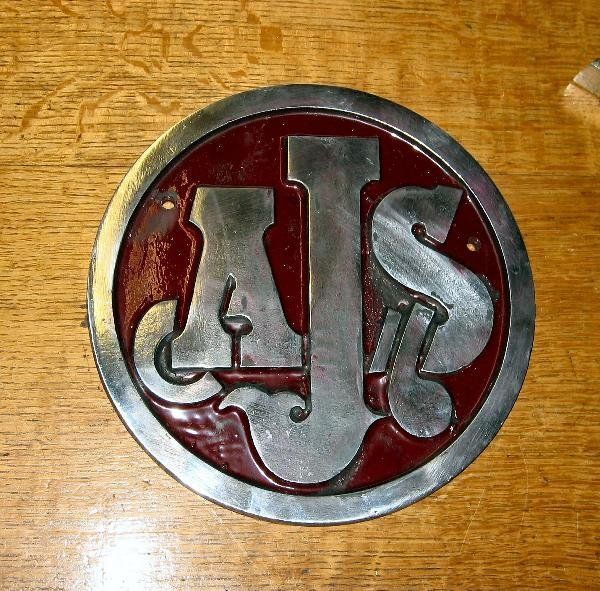 1013: AJS motor cycles- a circular cast aluminium sign