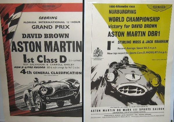 1020: Aston Martin- two reproduction lithographic poste