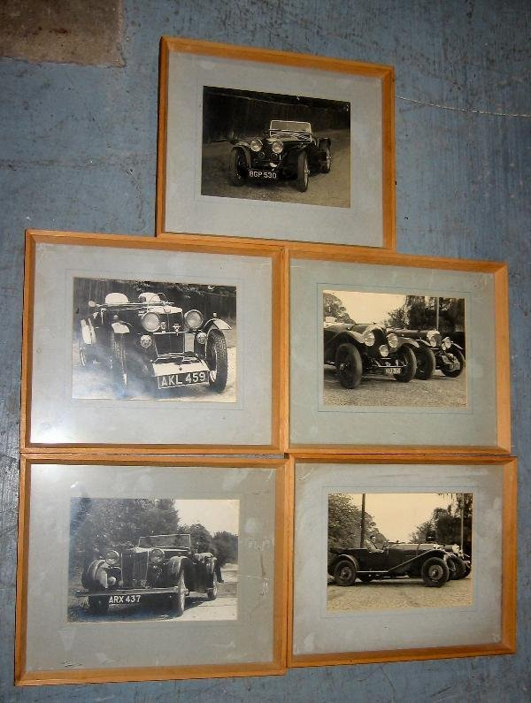 1024: 1930's MG, a set of five framed period monochrome