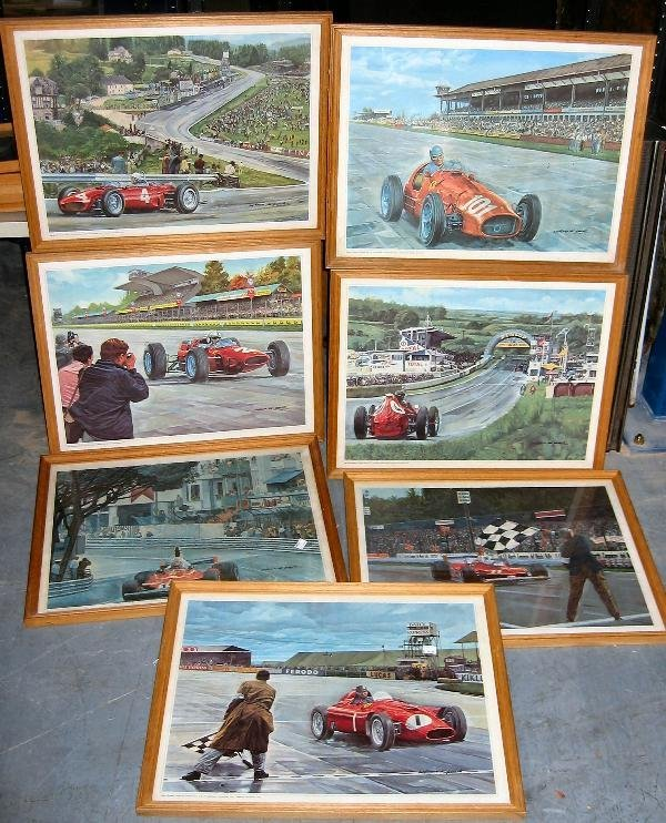 1027: Ferrari- 7 framed colour prints by Antonio de Gui