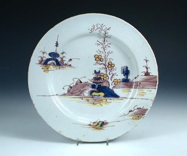 4: A mid 18th century English Delft plate