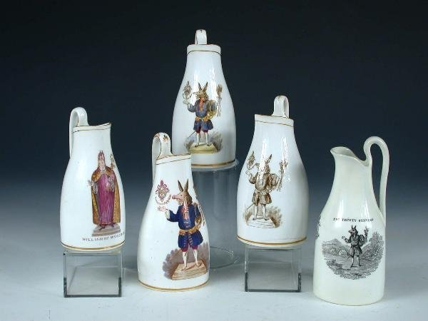 19: Five Wykehamist jugs possibly Copeland