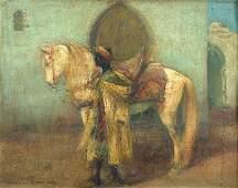 396: William Kennedy An Arab with his Grey Stallion oil