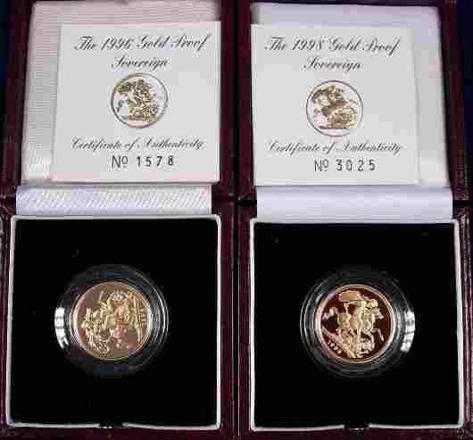 411: SOVEREIGNS, PROOF 1996 AND 1998, BOTH CASED AS