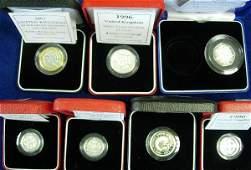 412: SILVER PROOF PIEDFORT COINS - £1 (1998), £2 (1996