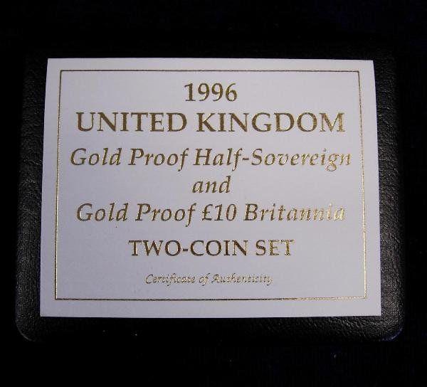 418: A GOLD PROOF HALF SOVEREIGN; £10 BRITANNIA COIN