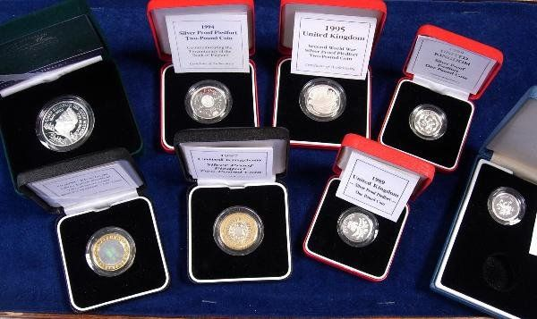 422: COLLECTION CASED SILVER PROOF PIEDFORT COINS