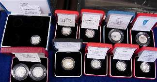 424: COLLECTION MODERN SILVER PROOF PIEDFORT COINS IN