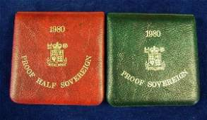 449 Proof Half sovereign 1980 and another 1980