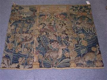 598: A VERDERIE TAPESTRY DECORATED WITH ANIMALS