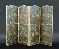 701 A 19TH CENTURY DECORATED LEATHER FOUR FOLD SCREEN