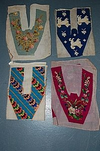 1005: A group of embroidered slipper panels, circa 1860