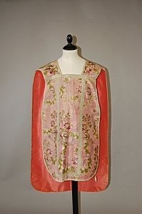 1017: A chasuble of 1760s pink brocade