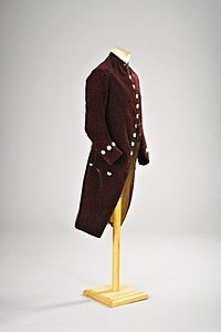 1: A gentleman's velvet tailcoat circa 1770, of chocola