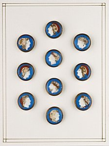 16: Ten transfer-printed glazed porcelain buttons, so-c