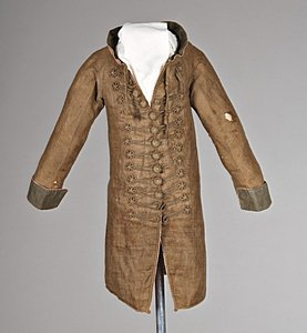 113: A rare infant's brown linen frock coat, circa 1780