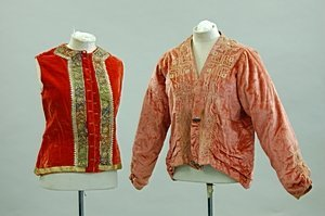 2022: A 1920s peach velvet embroidered jacket, applied