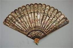 2206: A rare silver lacquered brisé fan, Chinese, circa